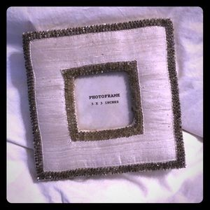 Other - Silver Fabric Sequin 3x3 pic square Picture Frame